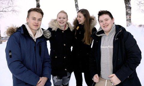 ARRANGERER: Sindre Øyen nestleder i ungdomsrådet i Vefsn, Sofie Elise Ånes leder i ungdomsrådet i Vefsn, Katharina Wulff Hansen og Egil Trones Christiansen gleder seg til å arrangere UKM i februar. Foto: Pål Leknes Hanssen