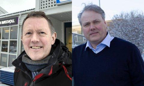 Henrik Johansen (t.v) og Bjørn Larsen møtes til flyplassdebatt på NRK1 torsdag kveld.