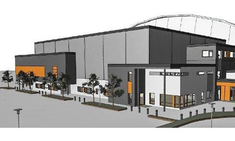 SKISSE: Den utbygde hallen skal romme håndball, fotball, innebandy, basketball, volleyball og badminton.