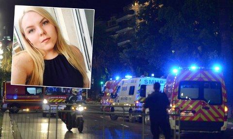 BERGET SÅVIDT: Eirin Pedersen, her avbildet ved en tidligere anlending i Norge, tok deknig bak en port foran en leilighet under angrepet. Hun sier bilen med gjerningsmannen passerte få meter fra henne.