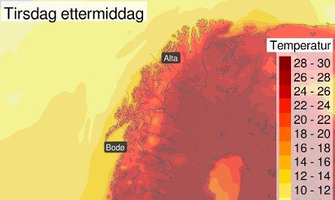 VARMEN KOMMER: Enkelte steder i Finnmark vil få opp mot 30 varmegrader de kommende dagene. Skjermdump: Yr.no