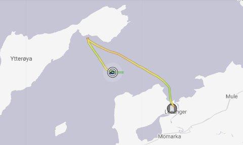 KANSELLERTE ANLØP: MF Ytterøy melder mandag kveld at ferga kansellerte anløpet av Hokstad fergeleie på Ytterøya klokka 18.35, og returnerer til Levanger. (Foto lkokka 19.09, mandag)