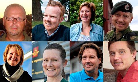 BLANT SØKERNE: Topp f.v.: Roy N. Wetterstad, Håvard Fossbakken, Laila Gustavsen og Asgeir Spange Brekke. Nede f.v.: Karin Gauteplass, Janne Schumann, Rune Henninen og Lars Schjerden.