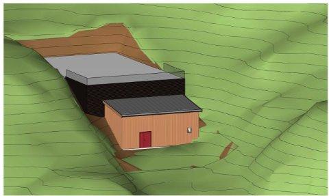 Skisse av bygget med nytt høydebasseng i Stamsund, som foreslått av AsplanViak.