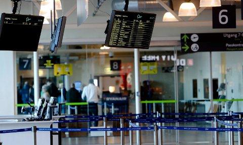 Moss lufthavn Rygge har en nedgang på 15 prosent.