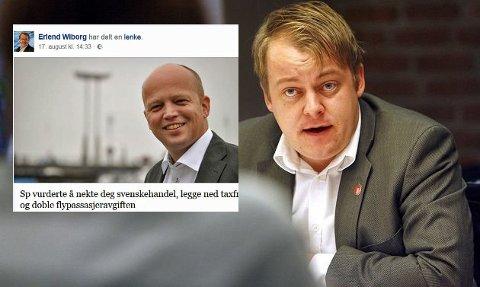 Erlend Wiborg slettet Facebook-oppadtering etter å ha blitt kontaktet av ABC-nyheter.