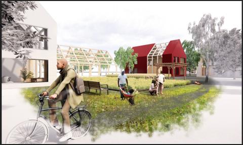 Slik ser grunneierne i Nethusveien og Vansjøveien for seg det nye Karlshus Tunet, som kan bygges nær Bøndernes Hus.