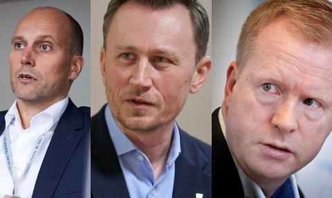 SØKERLISTE: Torbjørn Aas (f.v.) Endre Skjervø og Inge Bartnes sto på den opprinnelige søkerlista til stillingen som ny fylkesrådmann i Trøndelag. To av dem har trukket sitt kandidatur.