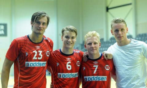 KLAR FOR EM: Magnus Abelvik Rød, Fredrik Løvberg, Kevin Maagerø Gulliksen og Kristian Sæverås er klar for å gi alt for Norge i EM.