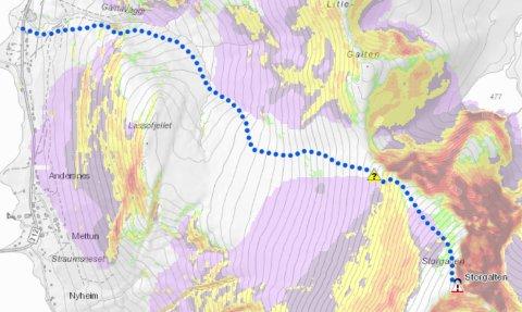 KARTET: Turen opp til Storgalten i Nord-Lenangen har fått fargen blå. Det vil si at den er klassifisert som kategori to - eller utfordrende.