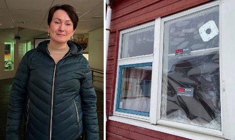 KNUST: Slik ser vinduet på skolen ut etter nattens hærverk. Rektor Viveke Breivik vil jobbe for å forebygge slike hendelser.