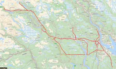 STRØMLINJER: Bor du i nærheten av disse røde strekene, får du varsel fra Eidsiva. (Opptegningen er omtrentlig.)