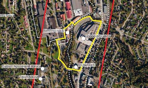 GRENSEN: Innenfor det gule området skal Raufoss få et bypreg med kvartaler og fortetting