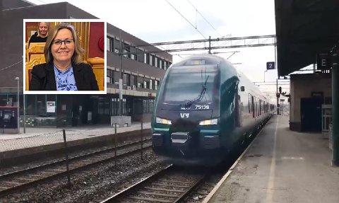 Stortingspolitiker Anne Kristine Linnestad (innfelt) fra Langhus er bekymret for pengebruken til Bane NOR og Follobaneprosjektet.