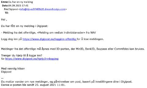SVINDEL: Har du fått en slik mail i det siste, er det et svindelforsøk.