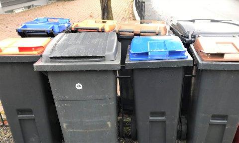 NY ORDNING: Fra 1. september kommer FIAS med ny søppelordning. Den medfører blant annet som bildet viser, at to husstander ender opp med åtte dunker. Men det er mulig å lage et nabosamarbeid.