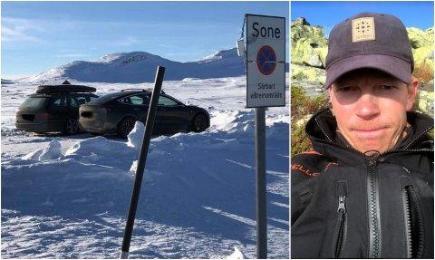 Den ulovlige parkeringen skjedde få meter unna skiltene. Sjåførene beklaget overfor oppsynsmann Paul Lutnæs. – Det er heldigvis hyggelige folk vi har på besøk i fjellet vårt, sier Lutnæs.