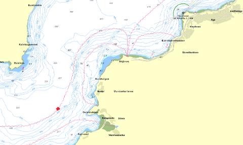 Ved det rødmerka området på kartet, har KystTele opplevd et brudd på sin fiberkabel. De mener at bruddet på rundt 500 meters dybde utenfor Dalsgrenda er en følgeskade etter raset til MIPs molo ved Langneset. Kart: Gule Sider