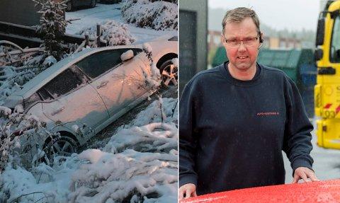 SNØ-TRØBBEL: Slik gikk det for en bil i Haugsbygd tirsdag morgen. Håvard Brager og de andre bilbergerne i Auto-assistanse var forberedt på en hektisk dag.