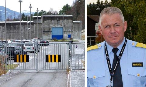 HARDT RAMMET: En ansatt er i isolasjon og 21 kollegaer er i karantene i Ringerike fengsel. – Nå høyner vi beredskapen, sier fengselsleder Eirik Bergstedt.