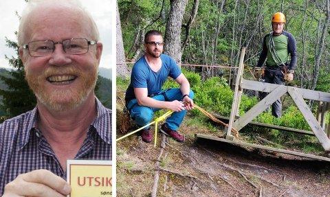FIKK GOD HJELP: Ola Ø. Hoel og Utsiktens venner hentet inn klatrehjelp for å hente opp benken på Dronningens utsikt. Simen Eldevik og Terje Haukeland heiste benken opp.