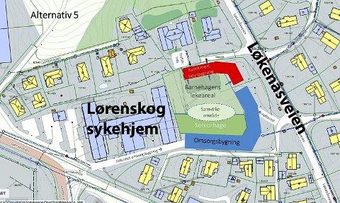 NABO TIL SYKEHJEMMET: Den nye barnehagen (i rødt) skal ha seks avdelinger, og rett ved siden av skal det bygges 15-30 nye omsorgsboliger. Ill.: Lørenskog kommune/RB