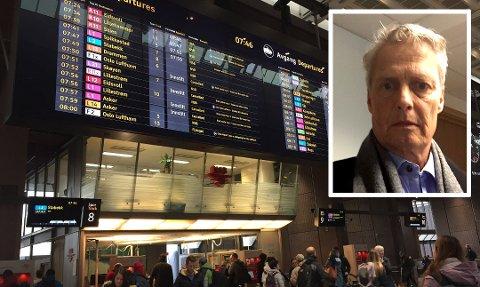 LEI AV VENTING OG DÅRLIG INFORMASJON: Gunnar Molander pendler mellom Romerike og Oslo hver dag. Nå er han lei dårlig service og informasjon. Han mener også at pendlerne blir nedprioritert til fordel for reisende til og fra Gardermoen. FOTO: IDA SAVE/PRIVAT