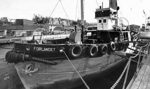 Skal restaureres: DS Forlandet ble bygget i Svelvik i 1921, og fanget hval fra Grytviken under navnet «Foca». Nå skal den 35 meter lange og 200 bruttotonn tunge båten restaureres på Huvik i regi av Stiftelsen Sandefjord Kystkultursenter.