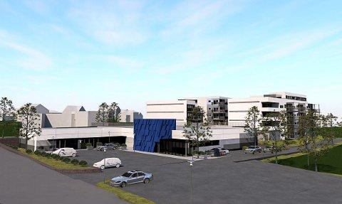 REMA 1000: Her ser du hvordan Rema 1000-butikken vil se ut fra Moveien. Illustrasjon: PV arkitekter AS