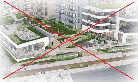 CARLSENKVARTALET: Dette forslaget fra januar og februar 2019 er tidligere avvist av kommunestyret. Nå ønsker FrP at det tas opp igjen. (Illustrasjon: Spir Arkitekter)
