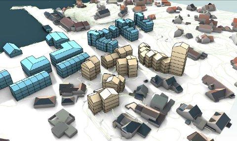 Ett av Snøhetta AS sine forslag til boligbebyggelse i Kuttervegen. Det er kun de gule blokkene som er gjeldende. De blå blokkene er ikke en del av Kuttervegen-planen.