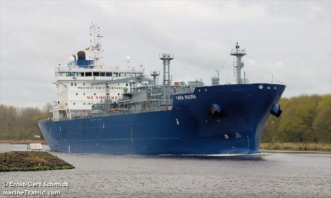 PÅ VEI TIL PORSGRUNN: Skipet med koronasmitte var på vei til Porsgrunn. Så ble planen endret. Foto: Ernst-Gert Schmidt/MarineTraffic