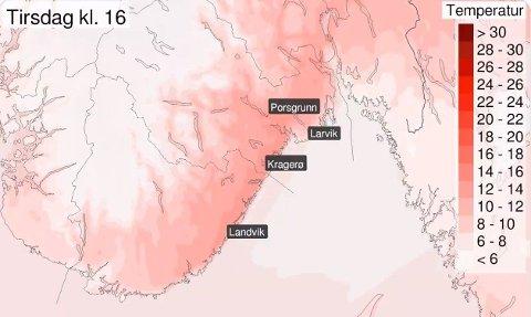 PROGNOSER: Temperaturprognosene for tirsdag er gode nyheter for deg som vil nyte sol og varme.Foto: (Meteorologisk institutt)
