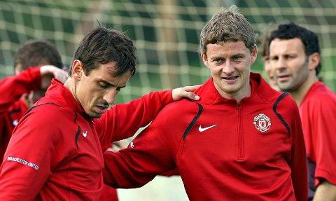Gary Neville og Ole Gunnar Solskjær spilte sammen i Manchester United.