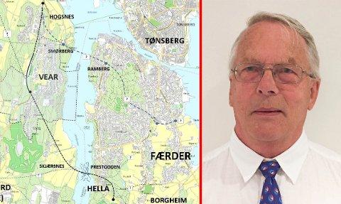 ALTERNATIV: Sten Hernes foreslår å legge Vestfjordforbindelsen fra Borgheim mot nordvest, med endepunkt ved Jarlsberg Travbane, alternativt ved Semsbyen. Denne løsningen går ikke i dagen gjennom Sandefjord kommune. Foto: Sten Hernes (illustrasjon)