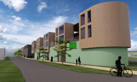 ILLUSTRASJON: Her er en av illustrasjon av hvordan nybygget kan komme til å se ut sett i fra nord i sentrum av Eina.