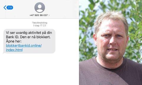 Dette er SMS-en som både Bernt Ove Opheim, kona og begge foreldrene i Sparbu fikk samtidig fredag ettermiddag.