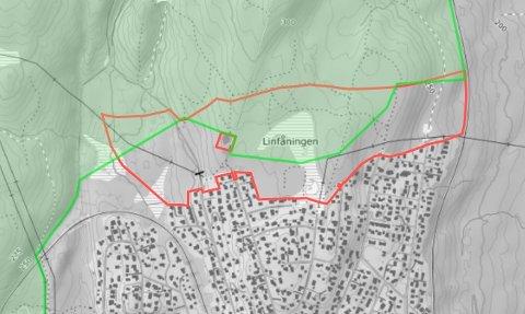 UTBYGGINGSROM:Eiendomsgrensa for Berger skog (gnr 38, bnr 5) med rød strek og gjeldende Markagrense markert med grønt.