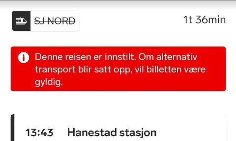 Følgende melding fra SJ Nord ble tidligere gitt til reisende dersom toget ble innstilt. Skjermdump: SJ Nord
