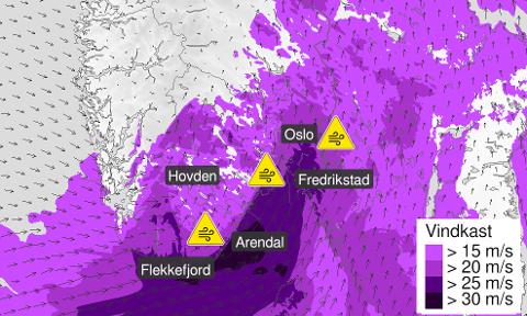 KRAFTIG VIND: Det er ventet kraftig vind fra mandag morgen. Det anbefales å sikre løse gjenstander.
