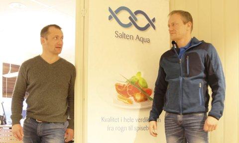 Solide tall: Geir Wenberg (t.h.) i Salten Aqua og Ørjan Wenberg, daglig leder i Wenberg Fiskeoppdrett, kan se tilbake på et solid år, med god produksjon og et fantastisk økonomisk resultat. Foto: Tore John Andreassen