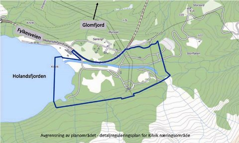 Skal reguleres: Illustrasjonen viser den geografiske avgrensningen for Kilvik Næringsområde.