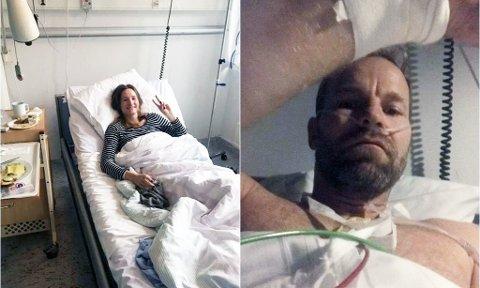MÅTTE LEGGES INN: Lise Vermelid Kristoffersen og mannen Tom ble nylig lagt inn på sykehuset med cyanidforgiftning. Ekteparet måtte tilbringe natten under overvåkning, og ble behandlet med oksygen og intravenøs. Dagen etter kunne de reise hjem igjen.