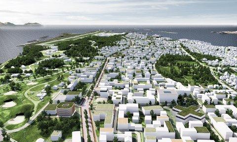 """Den nye bydelen i Bodø blir pilotområde i forskningsprosjektet """"Grønn by, grønn mobilitet"""". Illustrasjon: Nordic - Office of Architecture"""