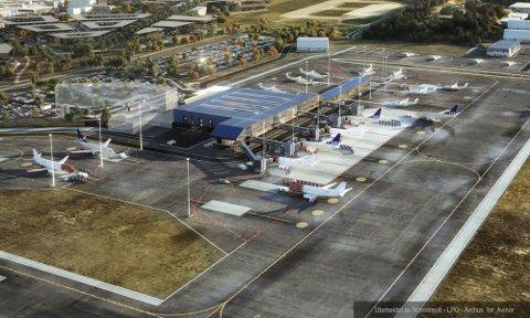 Bodø-ordføreren vil møte statsråden om framdriften for ny flyplass. Skissen viser den nye flyplassen med fem bruer og pir til kortbanenettet.