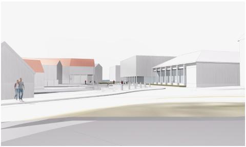 Fremtid: En tegning som viser hvordan et Vikevåg torg kan se ut en gang i fremtiden, sett fra krysset Vikevågveien-Håvasteinveien mot sjøen, med kulturhuset Meieriet i forgrunnen til høyre.