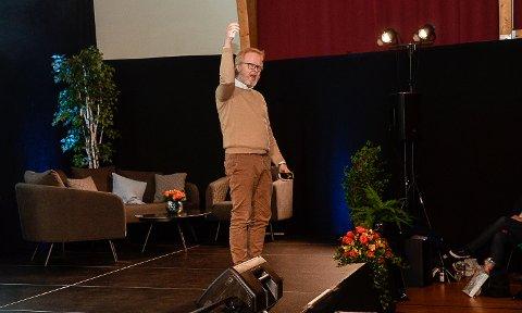 IKEA-SJEFEN ENGASJERTE: Det var en svært engasjert Lars-Johan Jarnheimer, som i Prestfoss snakket om ledelse og endring i en ny verden.