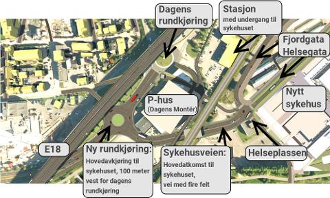 HOVEDADKOMST: Slik er veiløsningen fra vest tenkt. Dette blir hovedadkomst til det nye sykehuset.