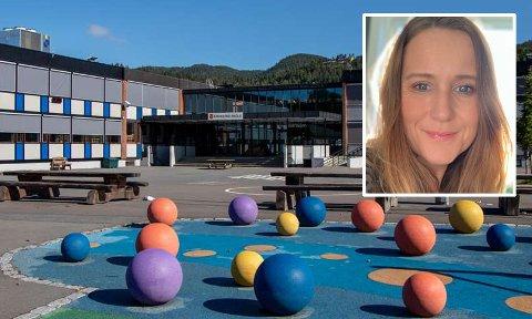 Rektor ved Krokstad skole Lena Westrum sier foreldre ved skolen er flinke til å rette seg etter smittevernreglene.