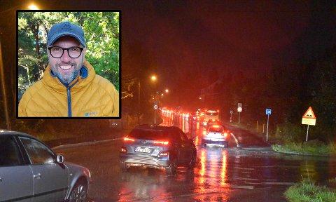KAOS: Øyvind Haraldseid var på vei i retning sentrum da han havnet midt i kaos i Austadveien mandag kveld.